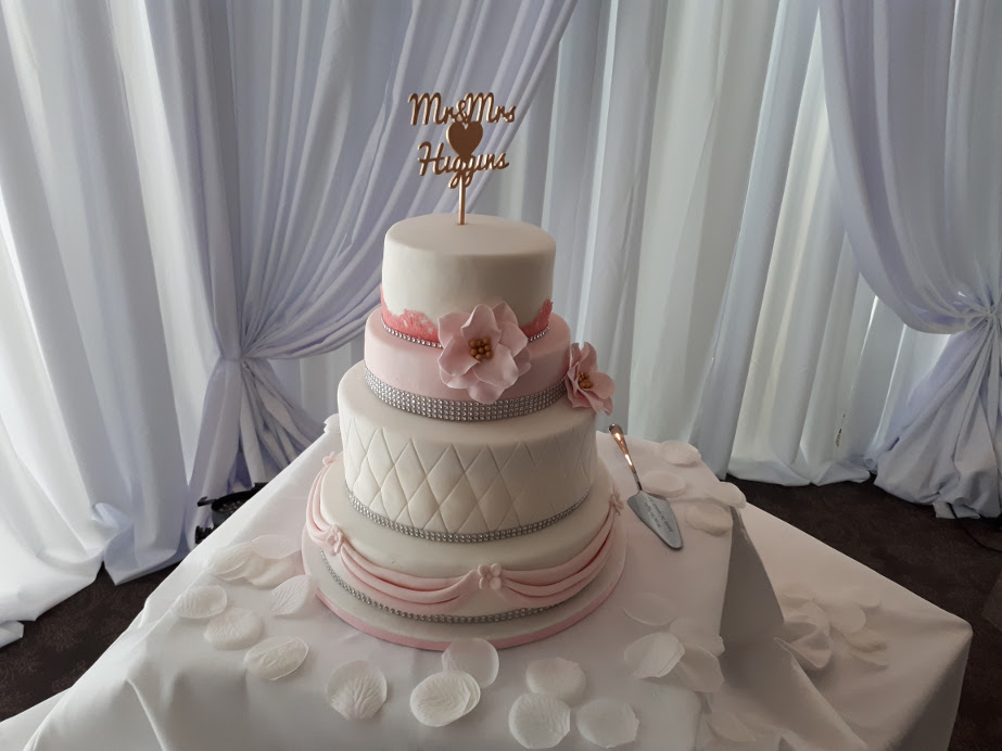 4 Tiers Pink and White with Pink Rose Wedding Cake | Deborah's Designer Cakes