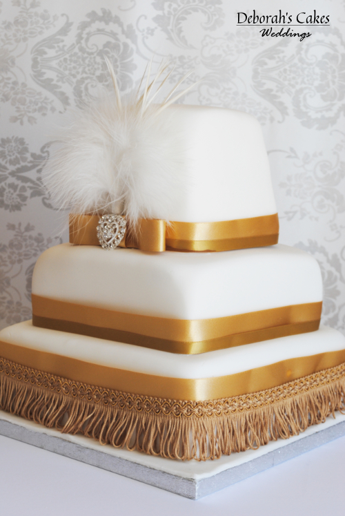 2 Tier white with brown lace decor | Deborah's Designer Cakes